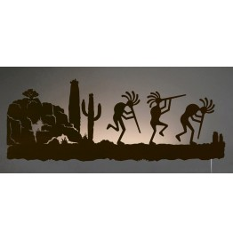 image for Kokopelli Desert Southwest Scene Back-Lit Wall Art 42 inch