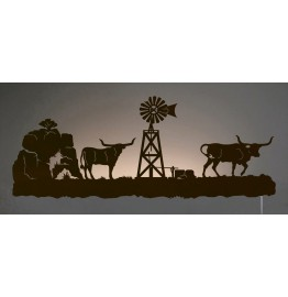 image for Longhorn Cattle Western Scene Back-Lit Wall Art 42 inch