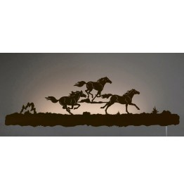image for Running Horses Back-Lit Wall Art 42 inch