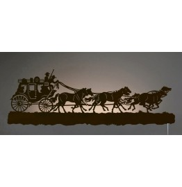 image for Stagecoach Run Western Back-Lit Wall Art 42 inch