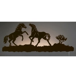 image for Wild Horses Back-Lit Wall Art 42 inch