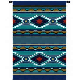 image for Balpinar Southwest Geometric Blue Wall Tapestry 53 x 73
