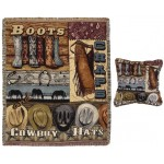 image for Boots Chaps Hats Western Throw & Pillow Set