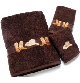 image for Cowboy Boots & Hat 3-Pc Bath Towel Set Brown
