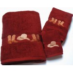 image for Cowboy Boots and Hat 3-Pc Bath Towel Set Garnet