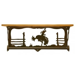 image for Bronc Rider Scenic Bath Shelf & Towel Bar 20 inch