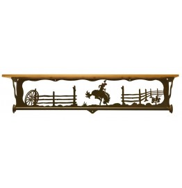 image for Bronc Rider Scenic Bath Shelf & Towel Bar 34 inch
