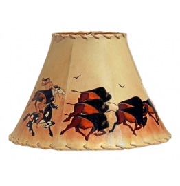 image for Buffalo Hunt Hand Painted Leather Lampshades
