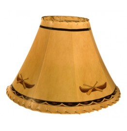 image for Canoe & Paddles Fish Border Hand Painted Leather Lampshades