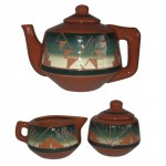 image for Cedar Pass Green Teapot & Creamer Sugar Bowl Set