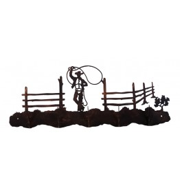 image for Roping Cowboy Western 5 Hook Wall Rack