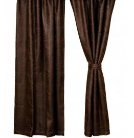image for Colt Coffee Brown Faux Leather Drapery Set 84 Long