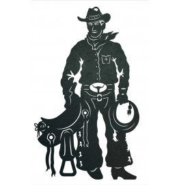 image for Cowboy & Saddle Western Wall Art Sculpture 42 x 24