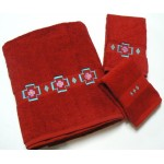 image for Chimayo Southwest 3-pc Bath Towel Set Pomegranate
