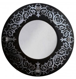 image for Rustic Ranch Concho & Damask Round Wall Mirror 28 inch