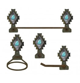 image for Desert Diamond Turquoise Stone Southwest Towel Bar Set 4-piece Burnished