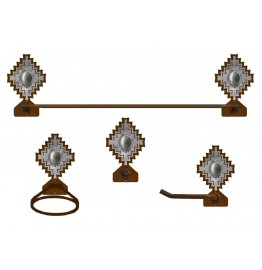 image for Desert Diamond Silver Concho Southwest Towel Bar Set 4-piece Burnished
