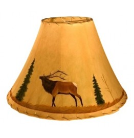 image for Bugling Elk Icon Hand Painted Leather Lampshades