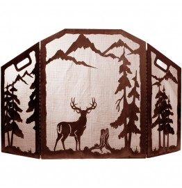 image for Deer & Mountain Forest Scenic Fireplace Screen