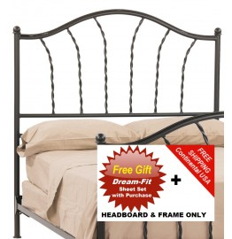 image for French Country Prescott Iron HB & Frame Only Queen & FREE SHEETS