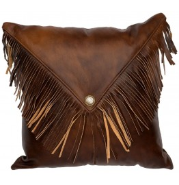 image for Fringed Harness Leather Throw Pillow 16 x 16