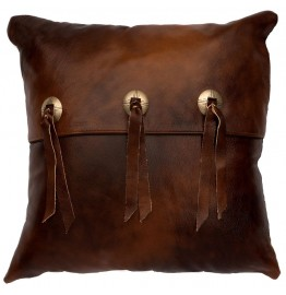 image for Western Leather with Concho Accent Throw Pillow 16 x 16