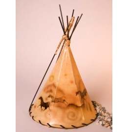 image for Cave Art Horse Drawings Hand Painted Leather Tepee Lamp 16x10