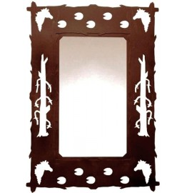 image for Horse Design Rustic Steel Western Wall Mirror 30 x 20