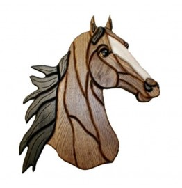 image for Horse Head Intarsia Wooden Wall Art Plaque