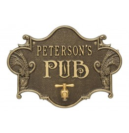 image for Antique Brass Hops & Barley Beer Pub Plaque Personalized