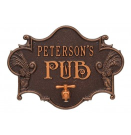 image for Antique Copper Hops & Barley Beer Pub Plaque Personalized