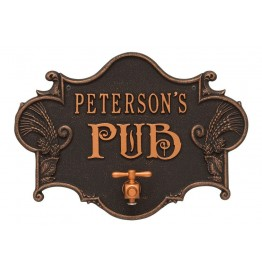 image for Oil Rubbed Bronze Hops & Barley Beer Pub Plaque Personalized