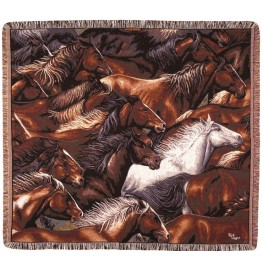 image for Different Color Horse Tapestry Throw Blanket