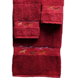 image for Horses Running 3-Pc Bath Towel Set Pomegranate