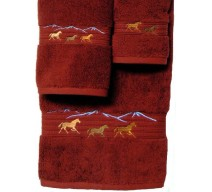 image for Horses Running 3-pc Bath Towel Set Garnet