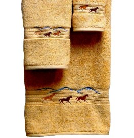 image for Horses Running 3-pc Bath Towel Set Gold