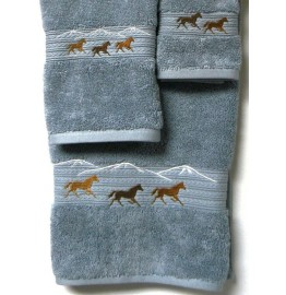 image for Horses Running 3-pc Bath Towel Set Smoke