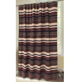 image for Old West Brown Stripe Chenille Fabric Shower Curtain