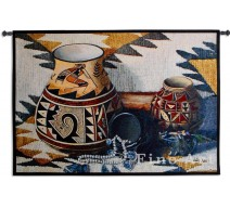 image for Kokopelli Pottery Southwest Wall Tapestry & Rod 52x35