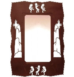 image for Kokopelli Southwestern Steel Wall Mirror 30 x 20