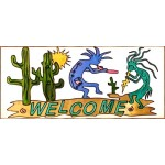 image for Kokopelli Welcome Framed Art Glass 9 x 20