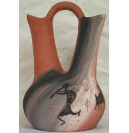 image for Kokopelli Rock Art Navajo Wedding Vase 7.5 x 12