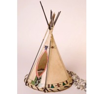 image for Ledger Art Hand Painted Leather Tepee Lamp 16x10