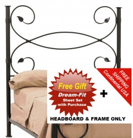 image for Leaf Forged Iron HB & Frame Only King Size & FREE SHEETS