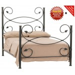 image for Leaf Forged Iron Bed Cal-King Size Complete & FREE SHEETS