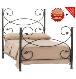 image for Leaf Forged Iron Bed King Size Complete & FREE SHEETS