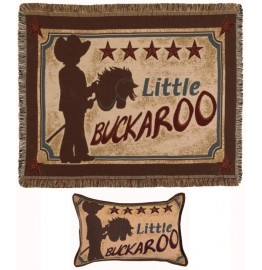 image for Little Buckaroo Cowboy Tapestry Throw & Pillow Set