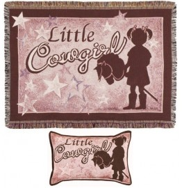 image for Little Cowgirl Tapestry Throw & Pillow Set