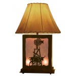 image for Longhorn & Windmill Scenic Table Lamp & Nightlight 25""