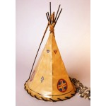 image for Medicine Shield Hand Painted Leather Tepee Lamp 16x10